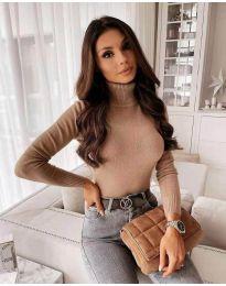 Дамска блуза с поло яка в кафяво  - код 8861