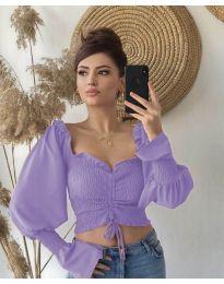 Блуза с ефектни ръкави в лилаво - код 896