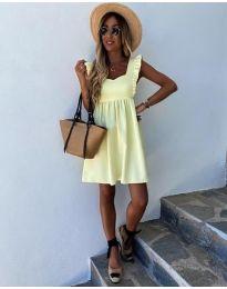 Стилна рокля в жълто - код 818