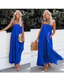 Дълга ефирна рокля в син цвят - код 551