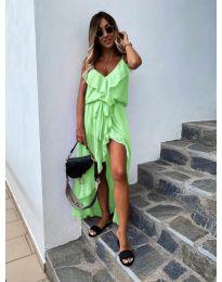 Елегантна рокля в цвят неоново зелено  - код 0081
