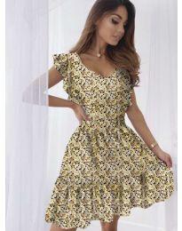Свободна рокля в жълто - код 6088