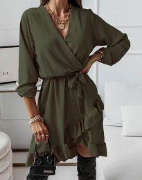 Стилна дамска рокля в масленозелено - код 5371