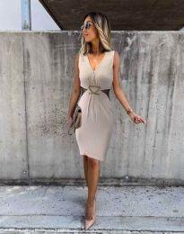 Стилна дамска рокля в бежово - код 0225