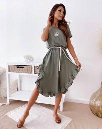 Атрактивна дамска рокля в масленозелено - код 11893