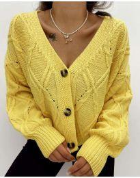 Къса дамска жилетка в жълто - код 2883