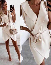 Атрактивна дамска рокля в бежово - код 7793