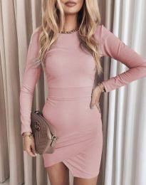 Стилна дамска рокля в розово - код 2835