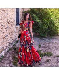 Дамски комплект в червено на цветя - код 2828