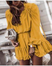 Свободна дамска рокля в цвят горчица - код 3231
