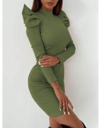 Рокля по тялото в маслено зелено - код 9303