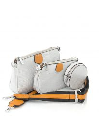 Дамска чанта от три части в сиво - код NH2889