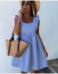 Стилна рокля в светло синьо - код 818