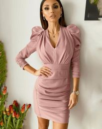 Дамска рокля в цвят пудра - код 7937