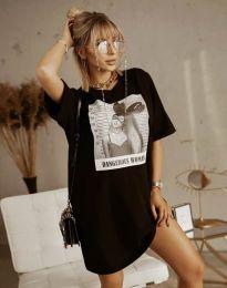 Свободна рокля в черно с принт - код 2919