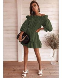 Свободна дамска рокля в маслено зелено - код 3386