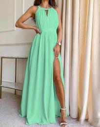 Дълга ефирна рокля в цвят мента - код 6787