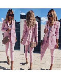 Стилен дамски комплект от сако и панталон в розово - код 172