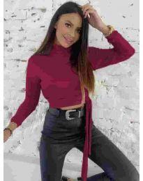 Къса дамска блуза в бордо - код 5757