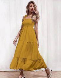 Ефирна дамска рокля в цвят горчица - код 1729