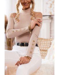 Дамска блуза с ефектни ръкави в цвят пудра - код 2771
