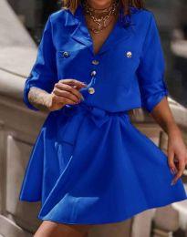 Дамска рокля тип риза в синьо - код 4950