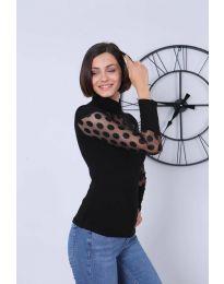 Ефектна дамска блуза в черно - код 2052