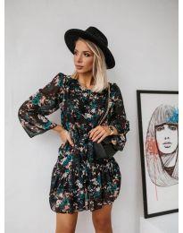 Черна феерична рокля с десен на цветя - код 485