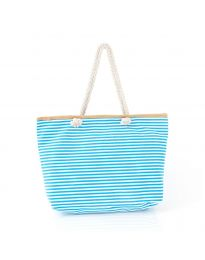 Плажна чанта на райе в светлосиньо - код H-9030