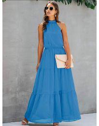 Свободна дълга рокля в светло синьо - код 8855