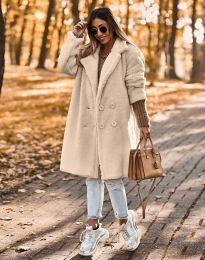 Пухкаво дамско палто в бежово - код 8988