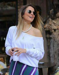 Ефектна дамска блуза в бяло - код 7067