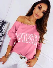 Блуза с ефектен принт в розово - код 11743