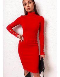 Вталена дамска рокля в червено - код 11513