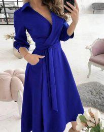Елегантна дамска рокля в синьо - код 2861
