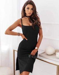 Къса дамска рокля с цепка в черно - код 7783