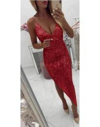 Елегантна блестяща рокля в червено - код 837