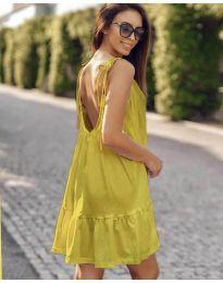 Дамска рокля с изрязан гръб в жълто  - код 008