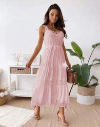 Атрактивна дамска рокля в светлорозово - код 4672
