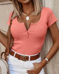 Дамска тениска в цвят праскова с копчета - 3233