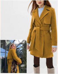 Дамско палто в цвят горчица - код 3113