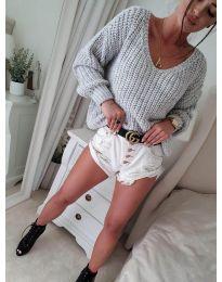 Дамски пуловер в светло сиво - код 8768