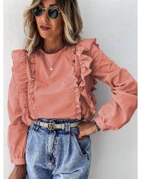 Дамска блуза в цвят пудра - код 6615