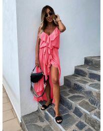 Елегантна рокля в цвят розово - код 0081