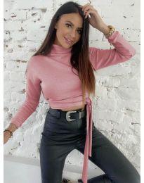 Къса дамска блуза в розово - код 5757