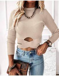 Дамска блуза в бежово - код 4089