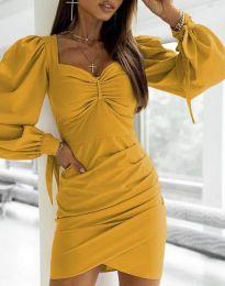 Дамска рокля  в цвят горчица - код 0363