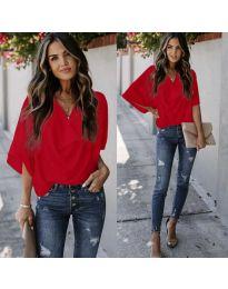 Блуза с къс ръкав в червено - код 888