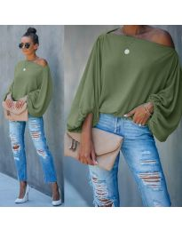 Дамска блуза в маслено зелено - код 5151