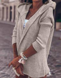 Дамска плетена жилетка в бежово - код 2305